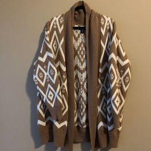 Tan & White Aztec Type Print Long Sweater